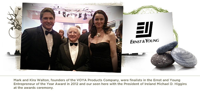 Mark and Kira Walton, founders of the VOYA Products Company, were finalists in the Ernst and Young Entrepreneur of the Year Award in 2012 and our seen here with the President of Ireland Michael D. Higgins at the awards ceremony.